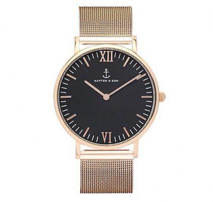 Vorbei! Kapten and Son Campus Black Mesh Uhr in Rosegold für 80,55€ (statt 179€)
