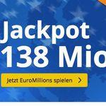 3 Felder EuroMillions (138 Mio. Jackpot!) für nur 2,75€ – nur Lottohelden Neukunden
