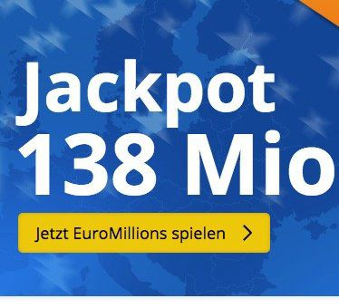 3 Felder EuroMillions (138 Mio. Jackpot!) für nur 2,75€   nur Lottohelden Neukunden