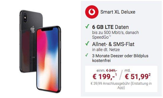 iPhone X für 199€ + Vodafone Smart XL Deluxe mit 5GB LTE für 51,99€ mtl. + 3 Monate Deezer oder Bildplus gratis
