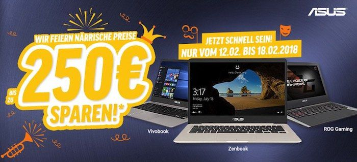 Bis zu 250€ Rabatt auf Asus Notebooks   z.B. Asus VivoBook F751NA für 369€ (statt 419€)
