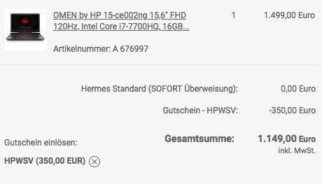 OMEN 15 ce002ng   15,6 Zoll Full HD Gaming Notebook mit 120Hz Display und GTX 1060 für 1.149€ (statt 1.459€)
