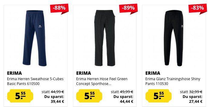 Erima Jogging  und Sporthosen für Damen und Herren ab je nur 5,55€zzgl. Versand