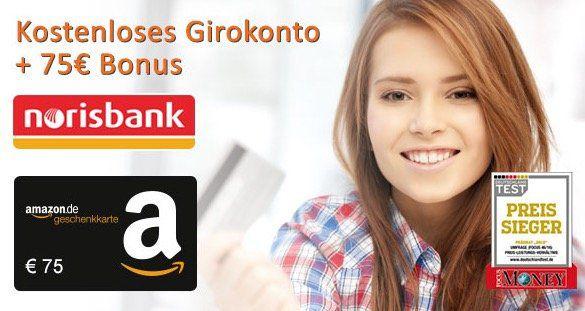 norisbank Girokonto (komplett kostenlos + Kreditkarte) + 75€ Amazon.de Gutschein*   kein Gehaltseingang mehr notwendig!
