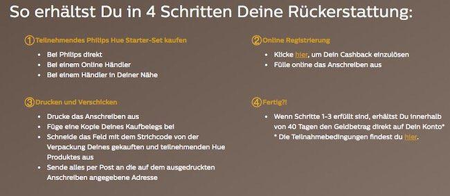 Philips Hue Starter Sets mit bis zu 50€ Cashback