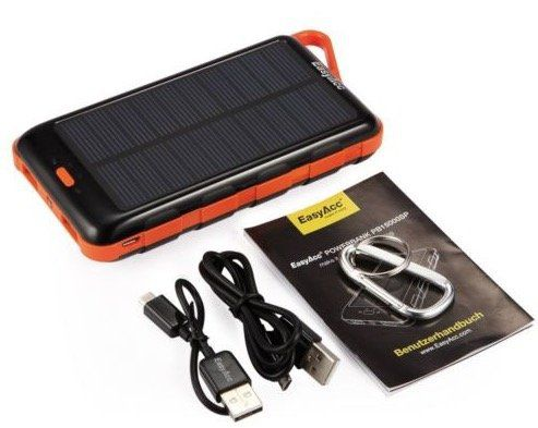 EasyAcc Powerbank mit 15.000 mAh und Solarpanel für 16,66€