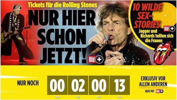 2 Monate BILDplus Digital für nur 0,99€ testen   Rolling Stones Tickets bis 10 Uhr!