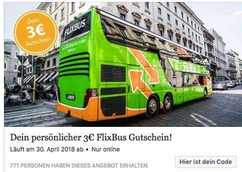 FlixBus: 3€ Gutschein ohne Mindestbestellwert über Facebook