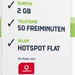 Vodafone Smart Surf mit 50 Min/SMS & 2GB + HotSpot Flat für 4,99€ mtl.