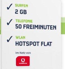 Vodafone Smart Surf mit 50 Min/SMS und 2GB + HotSpot Flat für 4,99€ mtl.