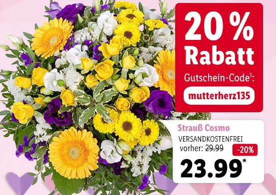 Zum Muttertag: LIDL Blumen mit 20% Rabatt + VSK frei
