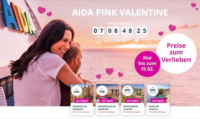 AIDA Valentinstag Special: 4 Tage mit der AIDAluna ab 449€ p.P. nach London