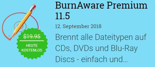 BurnAware Premium (Vollversion, Windows) gratis