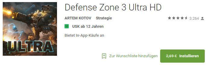 Defense Zone 3 Ultra HD (Android) gratis statt 2,69€