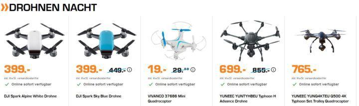 Saturn Late Night Shopping: günstige Drohnen & Beauty Artikel   z.B. DJI Spark Sky Blue Drohne für 399€ (statt 499€)