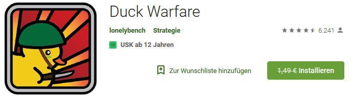 Duck Warfare (Android) gratis statt 1,49€