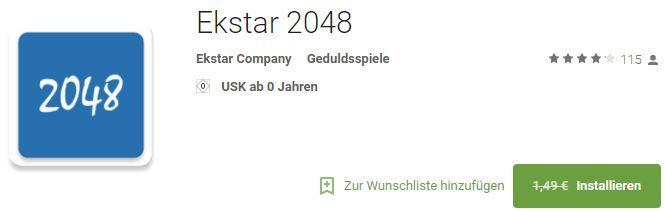 Ekstar 2048 (Android) gratis statt 1,49€