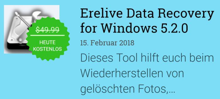 Erelive Data Recovery 5 (Vollversion, Windows) gratis