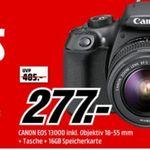 Media Markt Foto Tiefpreiswoche: z.B. CANON EOS 1300D Kit mit Tasche und 16GB für 277€