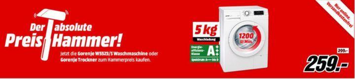 Media Markt Preishammer: Gorenje Waschmaschinen und Trockner ab 259€