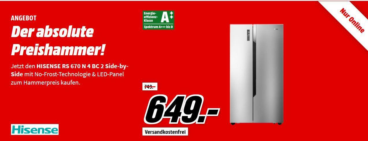 Hisense RS670N4BC2 Side by Side A++ KühlKombi für 649€ (statt 709€)