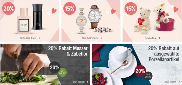 Galeria Kaufhof Aktions Übersicht: 20% auf Düfte, Messer 15% auf Uhren, Schmuck u. Kuscheltiere uvam.