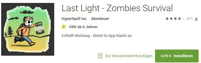 Last Light   Zombies Survival (Android) gratis statt 0,99€