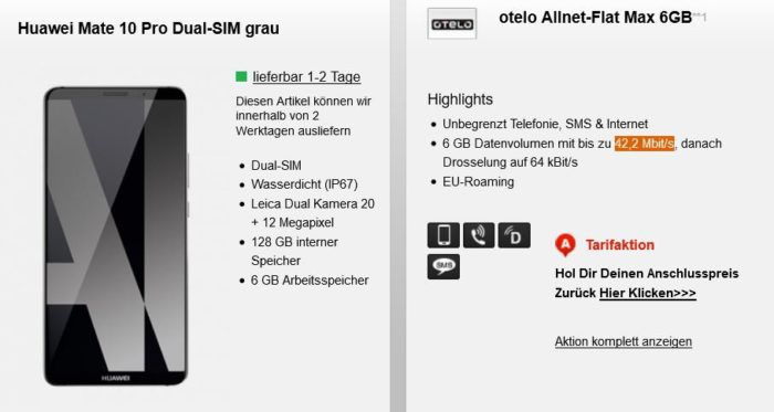Huawei Mate 10 Pro für 1€ oder Huawei P20 für 29€ + Otelo (Vodafone) Allnet & SMS Flat + 6GB Daten für 29,99€ mtl.