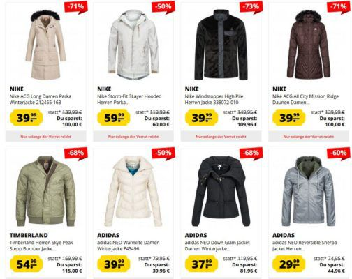 SportSpar: großer Jacken Sale mit bis 85% Rabatt