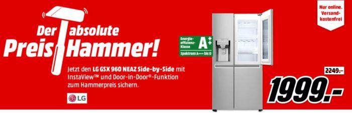 LG GSX 960 NEAZ Side by Side A++ Kühl  Gefrierkombi für 1.999€ (idealo 2129€)