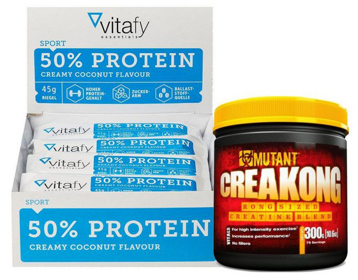 50% Protein Riegel Box (12x 45g) + 300g Creakong für 17€ inkl. VSK