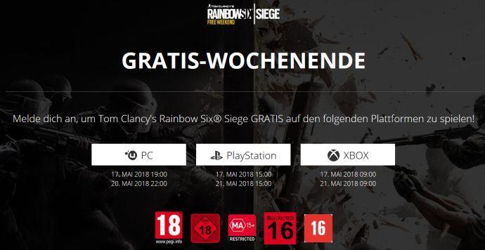 Rainbow Six Siege (PC, PS4, Xbox One) gratis spielbar vom 17. bis 20. Mai