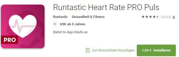 Runtastic Heart Rate PRO (Android/iOS) gratis statt 1,99€