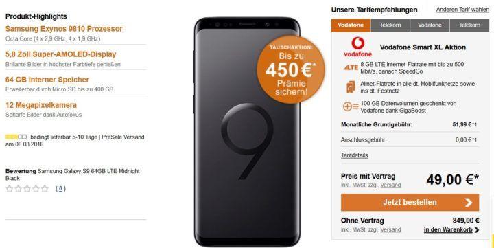 Samsung Galaxy S9    weitere gute Verträge zur Markteinführung!