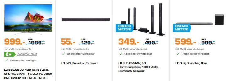 Saturn Weekend Deals: günstige LG TVs & Zubehör   z.B. LG SJ1 Soundbar für 55€