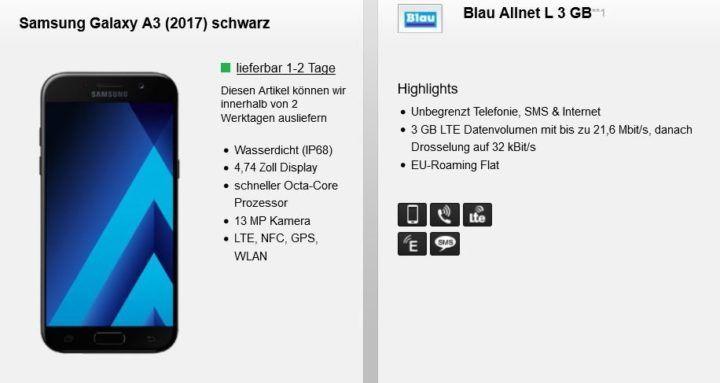 Samsung Galaxy A3 (2017) + Blau Allnet  & SMS Flat inkl. 3GB LTE für nur 14,99€ mtl.