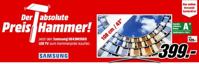 MM Preishammer: SAMSUNG UE43M5580   43 Zoll Smart TV mit FHD für 399€ (statt 477€)