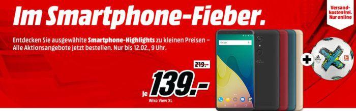 Media Markt Smartphone Fieber + Adidas Fußball: z.B. WIKO View 32 GB Black Dual SIM statt 175€ für 119, €