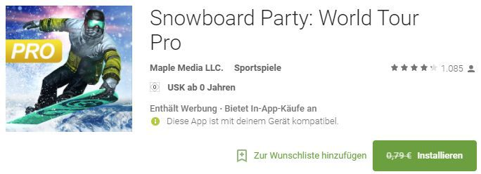Snowboard Party: World Tour Pro (Android) gratis statt 0,79€