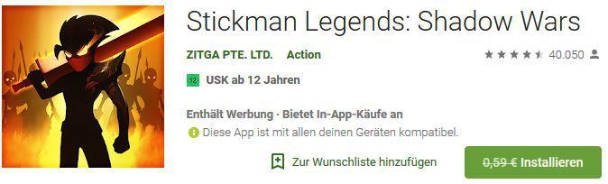 Stickman Legends: Shadow Wars (Android) gratis statt 0,59€