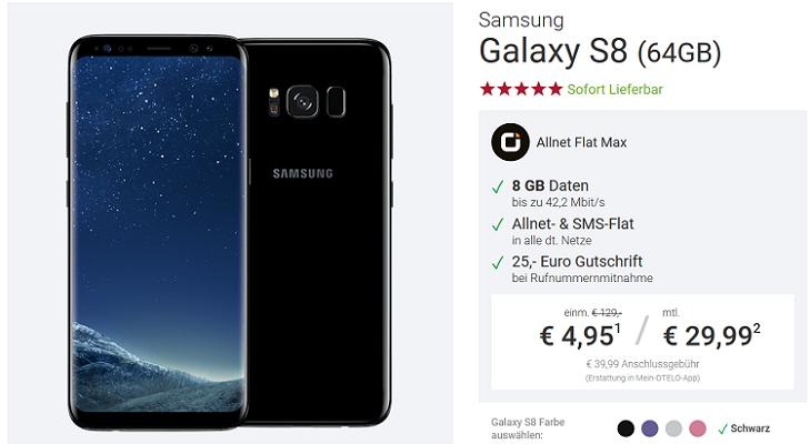 Winter Games by Samsung   z.B Galaxy S8 für 4,95€ + otelo Allnet Flat mit 8GB für 29,99€