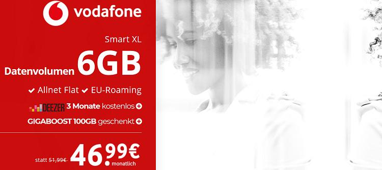 Vodafone Smart XL mit 6 GB für 46,99€ mtl. + ausgewählte Top Smartphones   z.B. iPhone 8 Plus 64 GB für 49,95€