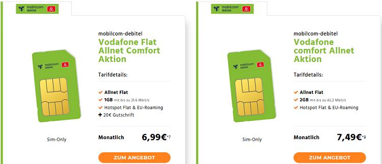 Telekom & Vodafone Datentarife und Allnet Tarife ab 6,99€ mtl.   z.B. Vodafone comfort Allnet Flat mit 2 GB für 7,49€