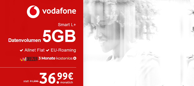 Top Smartphone ab 1€ (Galaxy S8, iPhone X uvm.) + Vodafone Smart L+ mit 5GB LTE für 36,99€ mtl. + 3 Monate Deezer gratis