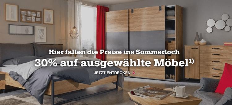 Mömax heute mit 30% Rabatt auf ausgewählte Möbel im Onlineshop