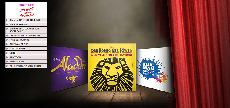 Stage Musical Tickets + 1 ÜN in 4* Hotel ab 75€   Der König der Löwen, Ghost, Aladdin uw.