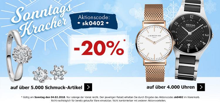 Karstadt Sonntags Kracher   z.B. 20% Rabatt auf ausgewählte Uhren & Schmuck