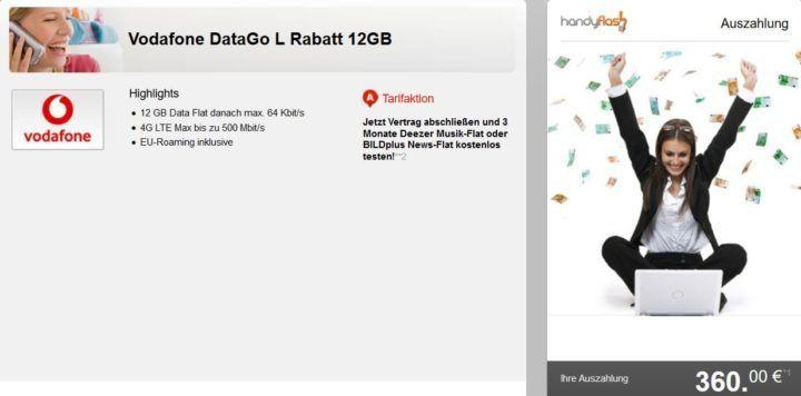 Vodafone DataGo L mit 12GB LTE für nur 12,49€ mtl. dank 360€ Auszahlung