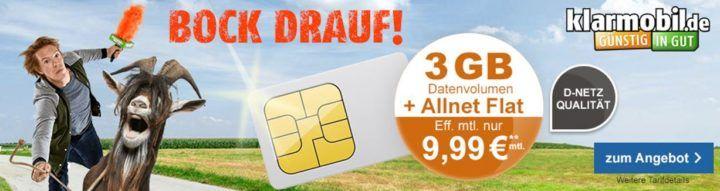 SIM only: Klarmobil Vodafone Allnet + SMS Flat + 3GB für nur 9,99€ mtl.