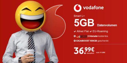 Top Smartphone ab 1,95€ (Galaxy S8, iPhone X uvm.) + Vodafone Smart L+ mit 5GB LTE für 36,99€ mtl. + 3 Monate Deezer gratis + 100GB Gigaboost geschenkt